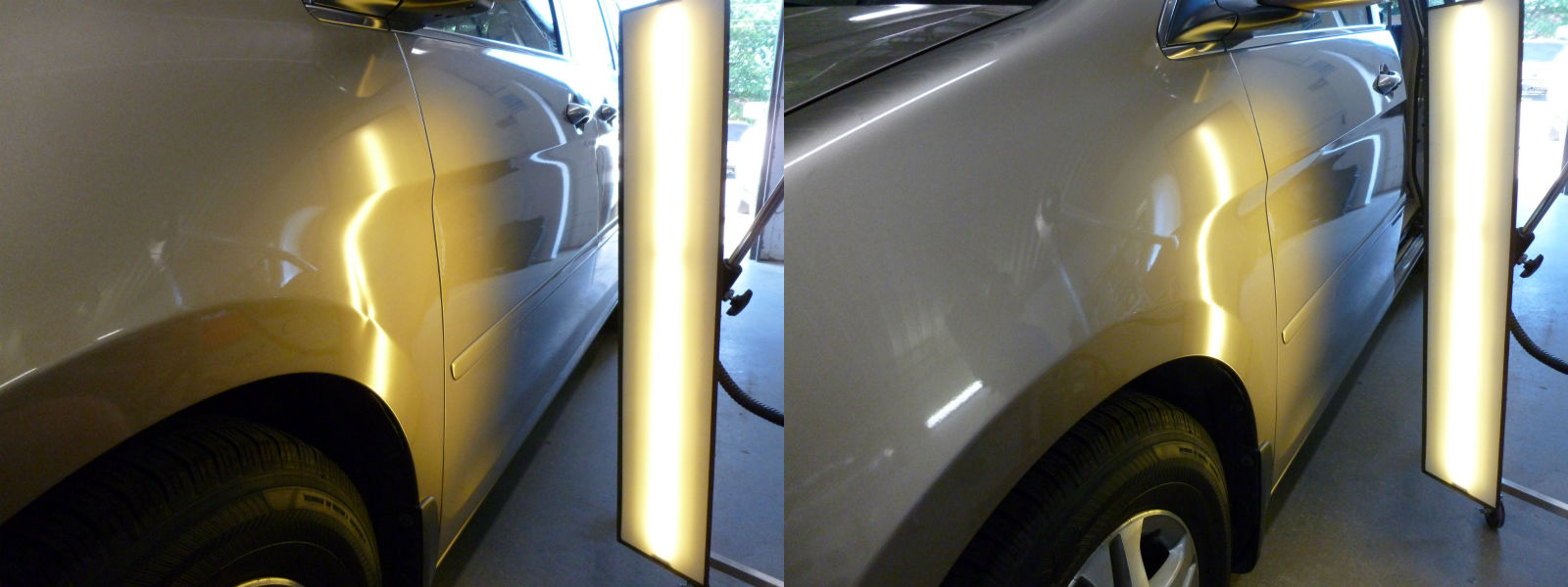 Door Ding On The Left Fender Of A Honda Odyssey Before And
