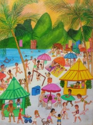 Praia de Ipanema - Helena Coelho - MIAN - naïf
