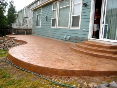 Custom Textured Concrete Patio and Steps