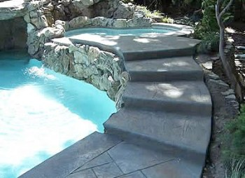 Custom Concrete Moss Rock Wall Jacuzzi and Denver Decorative Concrete Steps