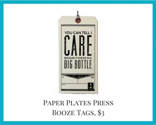Local Colorado gifts Paper Plates Press booze tag