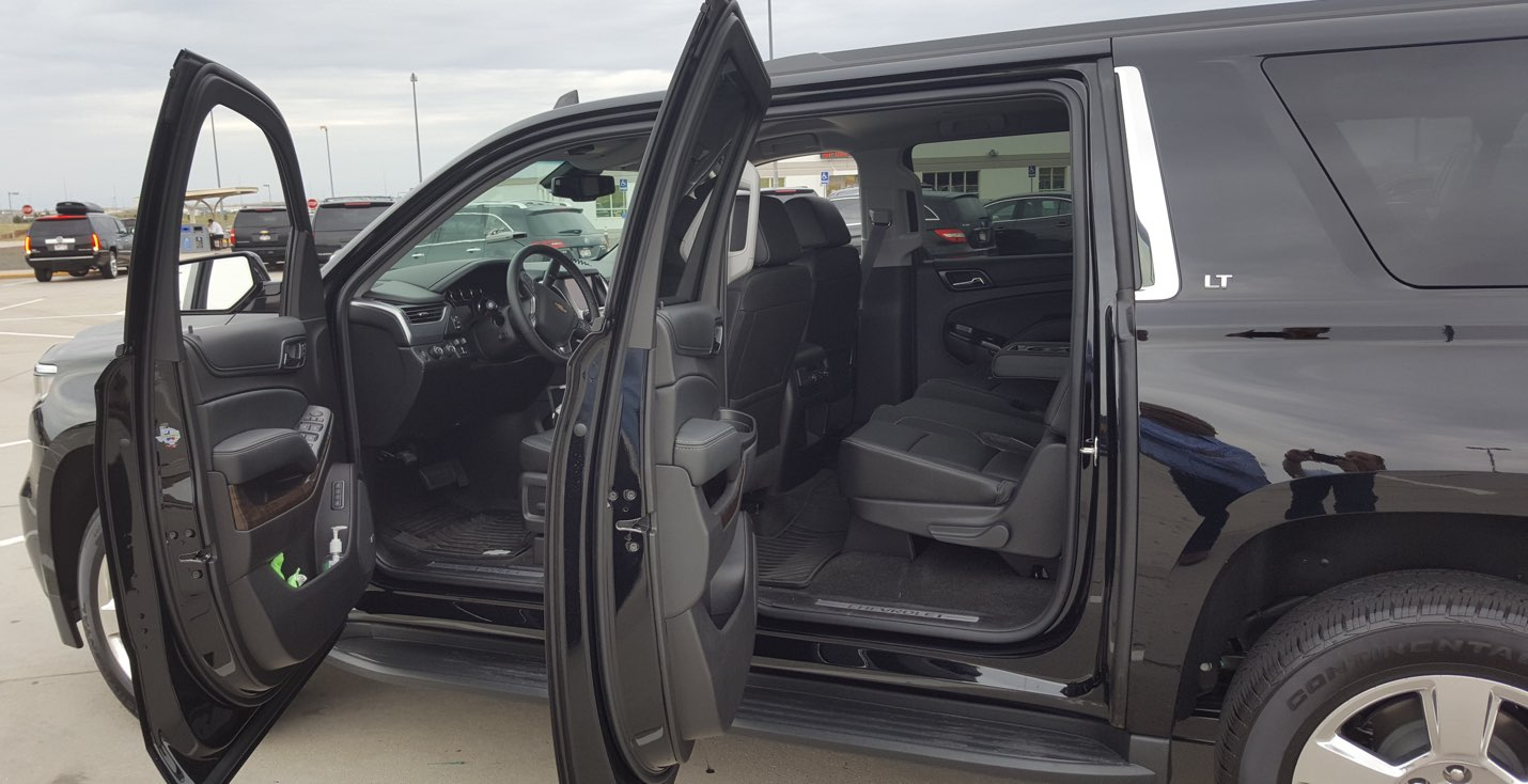 Denver Airport Parked Black SUV Inside View