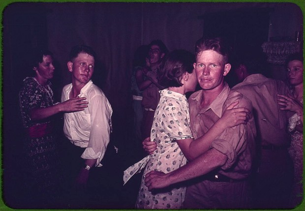 Couples at square dance. McIntosh County, Oklahoma, 1939 or 1940, Reproduction from color slide. Prints and Photographs Division, Library of Congress