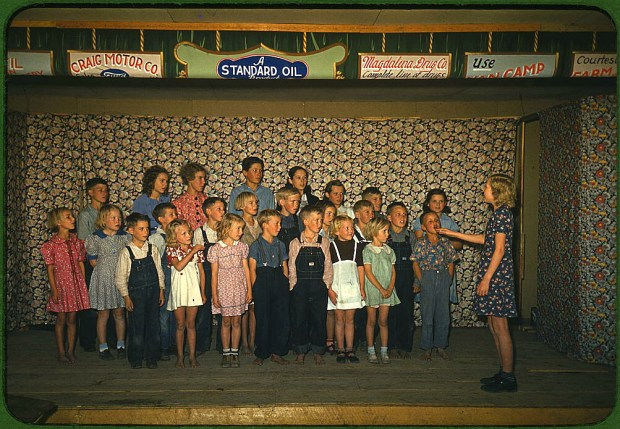 School children singing. Pie Town, New Mexico, October 1940. Reproduction from color slide. Prints and Photographs Division, Library of Congress
