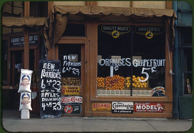 Grand Grocery Company. Lincoln, Nebraska, 1942. Reproduction from color slide. Prints and Photographs Division, Library of Congress