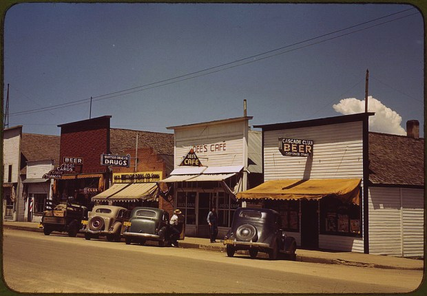 On main street of Cascade. Cascade, Idaho, July 1941. Reproduction from color slide. Prints and Photographs Division, Library of Congress