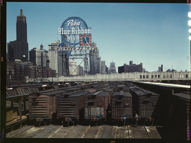 General view of part of the South Water Street freight depot of the Illinois Central Railroad Chicago, Illinois, May 1943. Reproduction from color slide. Prints and Photographs Division, Library of Congress