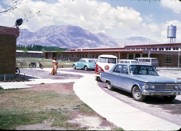 """Parking lot of the American International School of Kabul. The school no longer exists, although alumni stay in touch through Facebook and hold reunions every few years at different cities around the U.S. The next reunion will be held in Boston in 2013.""""AISK's last year was 1979, so the school had a 20 year history. AISK was located on the same campus that currently houses the American University of Afghanistan (on Darul-aman Rd in west Kabul). In 1967-68, there were about 250 students attending AISK and 18 graduating seniors."""" - Peg Podlich"""