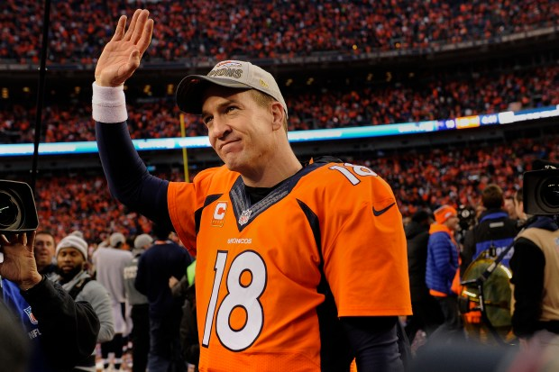 Peyton Manning waves after his last game in Denver.