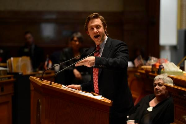 Then-state Sen. Mike Johnston, D-Denver, gives an impassioned speech in March 2013 in favor of a bill to limit the capacity of ammunition magazines to 15 rounds.