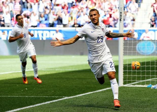 HARRISON, NJ - JUNE 01: Fabian Johnson #23 of the United States celebrates his goal in the first half against the Turkey during an international friendly match at Red Bull Arena on June 1, 2014 in Harrison, New Jersey.