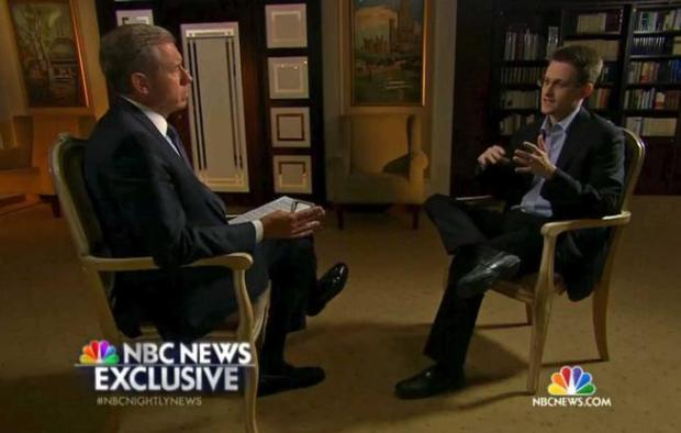 Edward Snowden, a former National Security Agency contractor, right, speaks to NBC News anchor Brian Williams, left, during an NBC Exclusive interview on May 27.