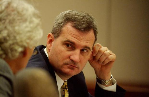 Michael Blagg looks toward his attorney during proceedings in his 2004 murder trial.