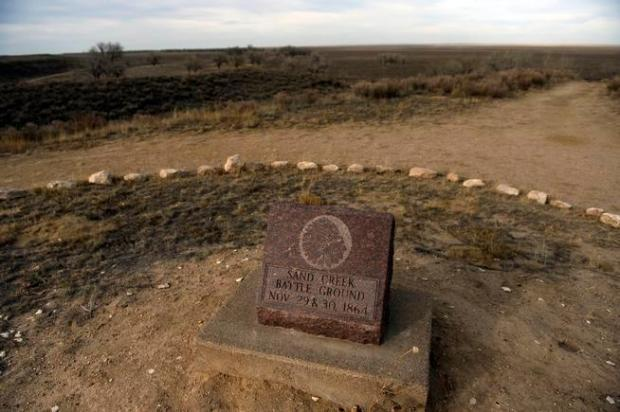 A monument marker sits on an overlook that greets visitors of the Sand Creek Massacre National Historic site in Kiowa County near Eads, November 28th. 2012.