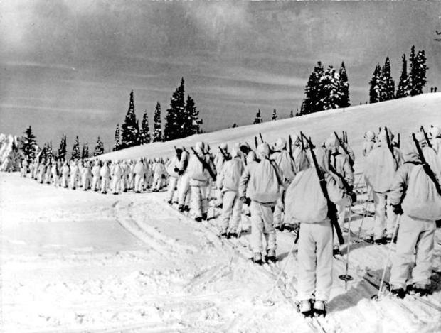 In 1943, the 10th Mountain Division was an elite alpine unit consisting of Olympic-caliber skiers, champion ice skaters, mountain climbers, cowboys and miners. They trained at Camp Hale in Colorado. They skied on 7-foot-long wooden skis, snowshoed, rock-climbed and built snow caves in anticipation of defending mountainous coastal areas of the United States and besting the enemy in the mountains of Europe.