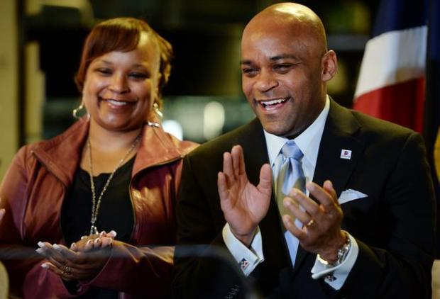 Denver Mayor Michael Hancock and his wife Mary Louise Lee enjoy an event kicking off Hancock's re-election campaign at Battery 621 on Feb. 3, 2015.