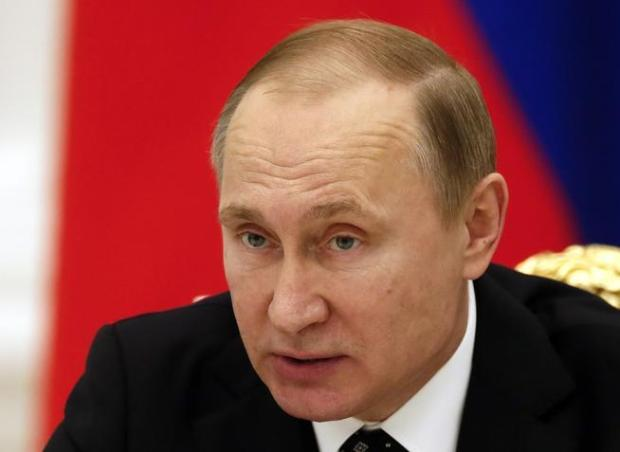 Russian President Vladimir Putin speaks during a meeting at the Kremlin in Moscow in January.