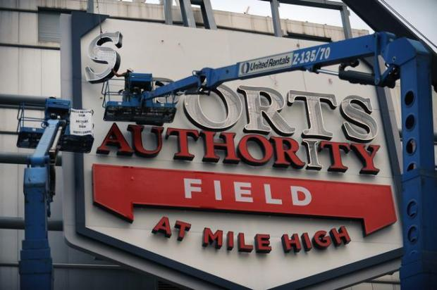 Crews put up the last of the letters in the Sports Authority at Mile High sign going up on the stadium. They will fill in the letters with red pieces of fiberglass once they are in place. Above the letters will be mountains. The entire sign which is on the south side of the stadium is scheduled to be finished on Friday, September 9th, 2011.Helen H. Richardson, The Denver Post
