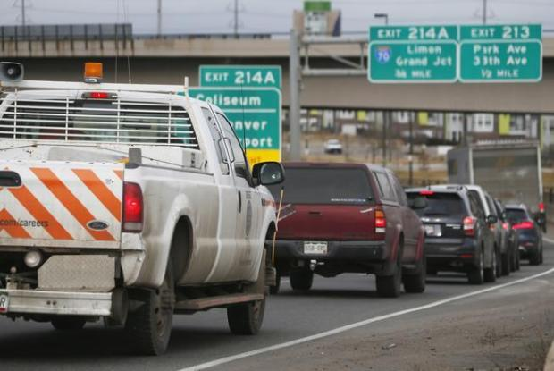 Traffic comes to a standstill along Interstate 25 in downtown Denver on Feb. 20, 2015.