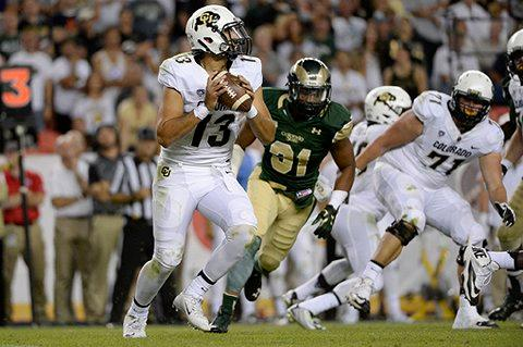 DENVER, CO - SEPTEMBER 19: Sefo Liufau (13) of the Colorado Buffaloes scrambles out of the pocket against the Colorado State Rams during the second half of the Buffs' 27-24 overtime Rocky Mountain Showdown win. The Colorado State Rams played the University of Colorado Buffs on Saturday, September 19, 2015. (Photo by AAron Ontiveroz/The Denver Post)
