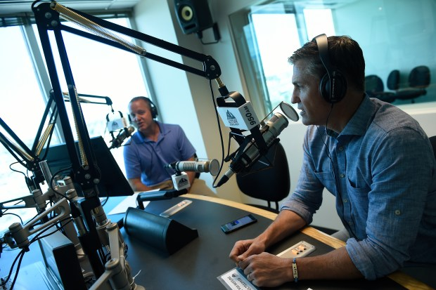 Radio hosts Vic Lombardi, right, and Kyle Keefe.