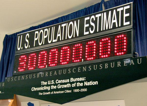 The U.S. population clock shows 300 million on Oct. 17, 2006 at the U.S. Census Bureau in Washington, DC. The US population hit the historic milestone of 300 million at 7:46 am EDT.