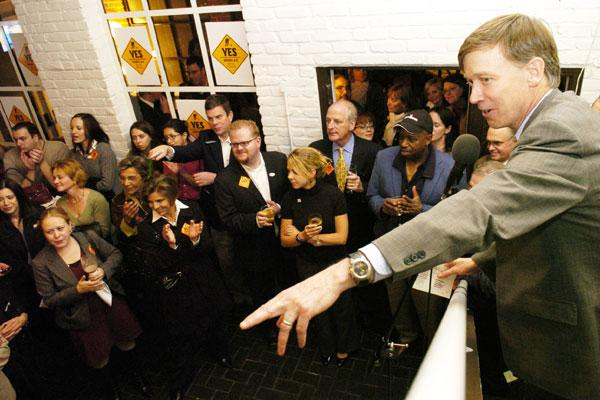 Denver Mayor John Hickenlooper thanks supporters of the infrastructure bond and tax increase inside Strings restaurant Tuesday. As of late Tuesday, voters were approving the package.