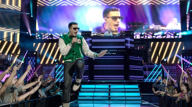 """Andy Samberg plays Conner4Real, a Justin-Bieber-esque singer and rapper in """"Popstar: Never Stop Never Stopping,"""" in theaters nationwide June 3."""