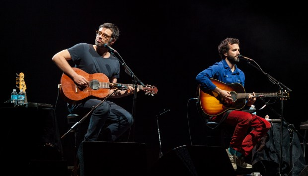 Jemaine Clement and Bret McKenzie of the Flight of the Conchords perform at the First Midwest Amphitheatre during the Funny or Die Presents The Oddball Comedy & Curiosity Festival, on Saturday, August 31, 2013 in Tinley Park, IL. (Photo by Barry Brecheisen/Invision for Invision/AP)