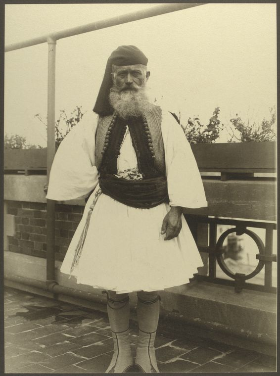 Greek soldier. Photo courtesy of New York Public Library Digital Collections.