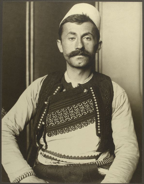 Albanian soldier. Photo courtesy of New York Public Library Digital Collections.