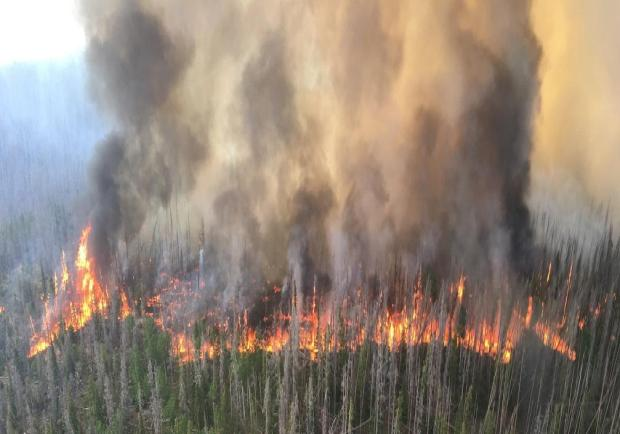 The Beaver Creek fire, shown in this photo posted to the U.S. Forest Service's official Twitter account for the Medicine Bow-Routt National Forests and Thunder Basin National Grassland, had burned more than 20,000 acres as of Thursday,
