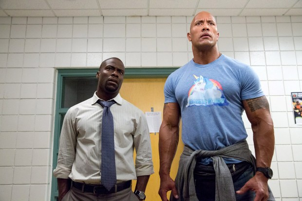 "Kevin Hart, left, as Calvin and Dwayne Johnson as Bob in ""Central Intelligence."""