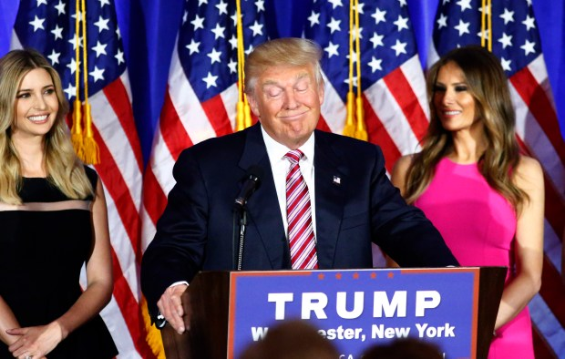 Republican presidential candidate Donald Trump delivers remarks following primaries in California, Montana, New Jersey, New Mexico, North Dakota and South Dakota at Trump National Golf Club Westchester in Briarcliff Manor, N.Y., on June 7. (Kena Betancur, AFP/Getty Images)