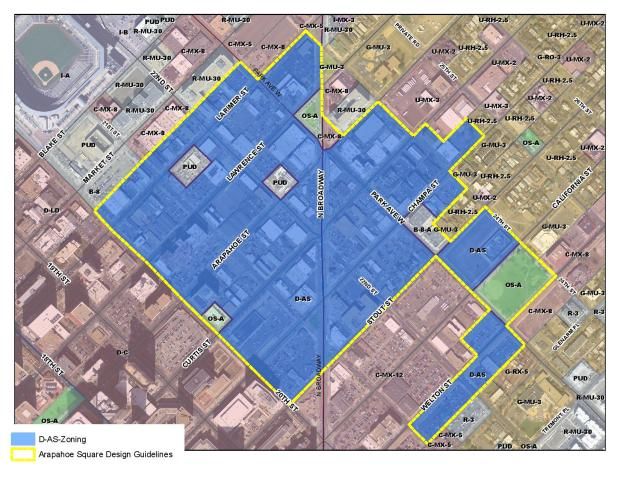 Existing zoning designations for Arapahoe Square study area. (City and County of Denver)
