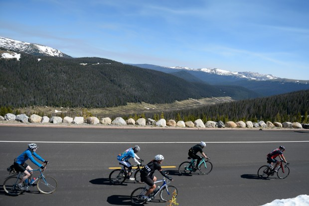 Ride the Rockies cyclists navigate Trail Ridge Road on Thursday. The fifth day of the 31st annual event took participants 49 miles from Grand Lake through Rocky Mountain National Park and Trail Ridge Road to Estes Park.