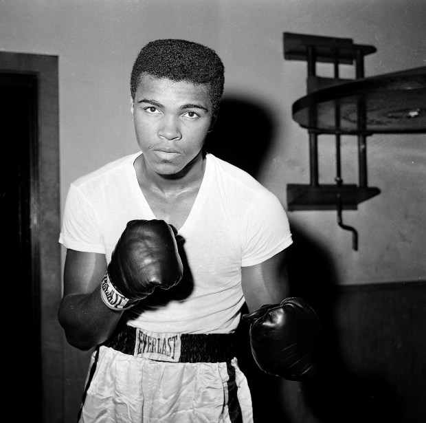 In this Feb. 8, 1962, file photo, young fighter Cassius Clay (Muhammad Ali) is seen at City Parks Gym in New York.