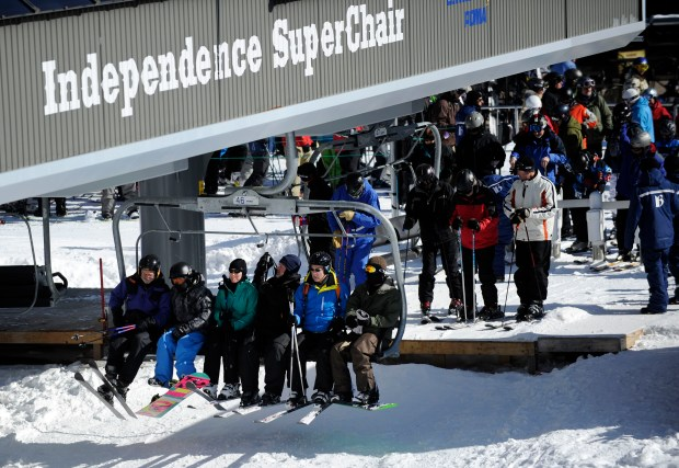 A group of skiers and snow boarders get onto the Independence SuperChair at the Breckenridge ski area Saturday, February 4th, 2012. Andy Cross, The Denver Post
