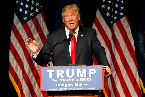 Republican presidential candidate Donald Trump speaks at a rally, Wednesday, June 29, 2016, in Bangor, Maine.