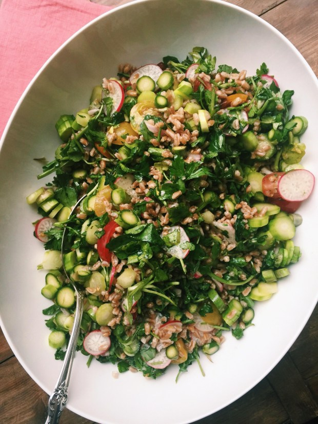 Fresh herbs and vegetables mixed with whole grain farro, which was once a mainstay of the ancient Roman diet.