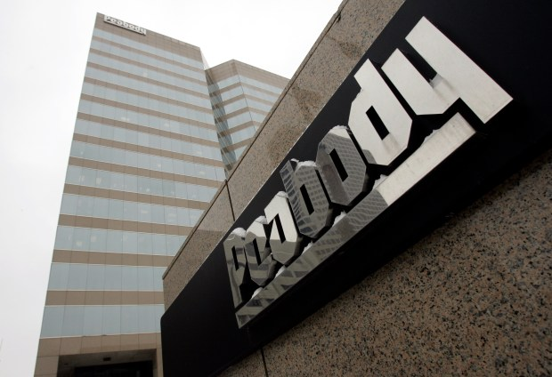 This Jan. 27, 2009, file photo shows Peabody Energy headquarters in St. Louis.