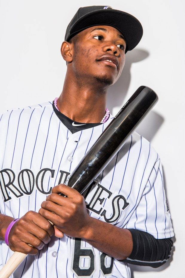 SCOTTSDALE, AZ - FEBRUARY 29: Raimel Tapia of the Colorado Rockies poses for a portrait at the Salt River Fields at Talking Stick on February 29, 2016 in Sottsdale Arizona. (Photo by Rob Tringali/Getty Images)