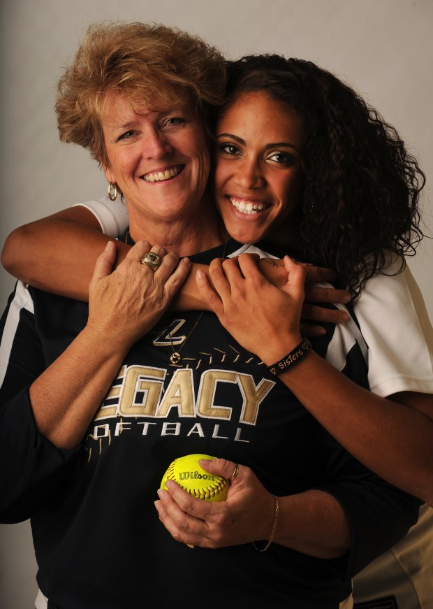 Dawn Gaffin and her daughter Rainey are photographed in the photography studios of the Denver Post. Dawn is the Coach of the Year for the Denver Post and Rainey is the softball player of the year. Helen H. Richardson, The Denver Post