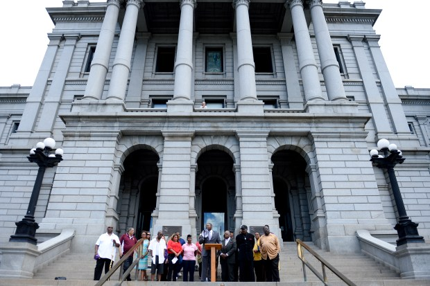 DENVER, CO - JULY 8: Colorado State Representative Jovan Melton speaks during a press conference on the Colorado State Capital steps on July 8, 2016. (Photo by Michael Reaves/The Denver Post)