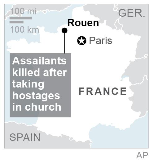 Map locates Rouen, France