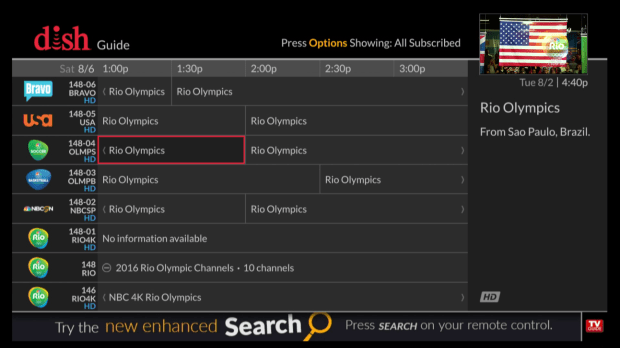 For the 2016 Olympics, Dish Network created channel 148, which expands into several channels that are all focused on the Games.