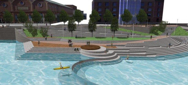 riverfront plaza begins rising in confluence park as tricky project takes shape the denver post. Black Bedroom Furniture Sets. Home Design Ideas