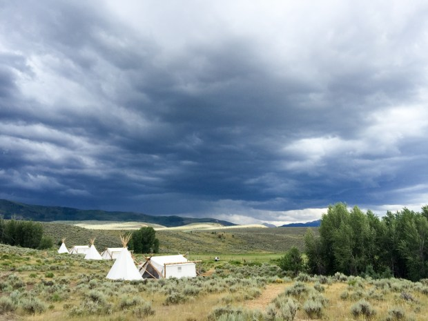 Storms roll through the mountains near 4 Eagle Ranch, where luxury wall tents with en suite tepee bathrooms, run by a glamping company Collective Retreats, are set up. (Photo by Joshua Berman, Special to The Denver Post)