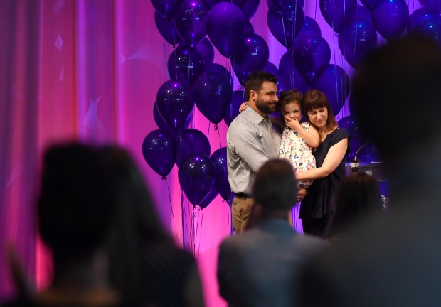Cassidy Smith with her husband, Adam, and their daughter, Anne-Claire, 4, had the chance to meet and personally thank many of the blood donors who helped save her life during a Bonfils Blood Center banquet at Seawell Ballroom in Denver Performing Arts Complex, August 18, 2016. More than 200 individual Bonfils blood donors unknowingly saved Cassidy Smith's life following the birth of her daughter at DenverÕs St. Joseph Hospital in 2012.