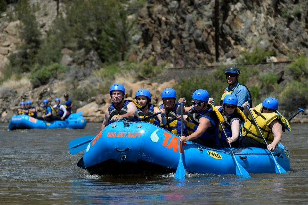 A rafting group arrives at Hecla Junction boat ramp after a day out on the Arkansas River on June 10.